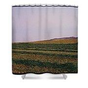 Panoramic View Of An Alfalfa Field Shower Curtain