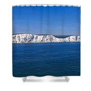 Panoramic View Of Sailboats On Sea Shower Curtain