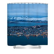Panoramic View Of Tromso In Norway  Shower Curtain