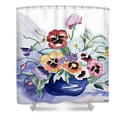 Pansies In Blue Pot Shower Curtain