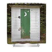 Paper Moon Outhouse Shower Curtain