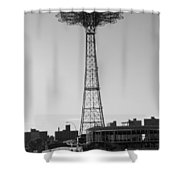 Parachute Drop In Black And White Shower Curtain