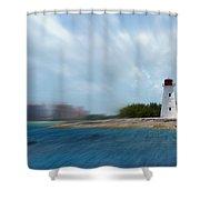 Paradise Island Lighthouse Shower Curtain