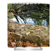 Paradise Springs Stone Wall Shower Curtain