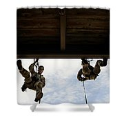 Pararescuemen Take Part In A Rappelling Shower Curtain