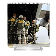 Paratroopers Gather Around The Back Shower Curtain by Stocktrek Images