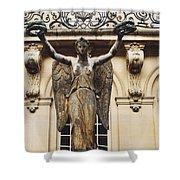 Paris Courtyard Musee Carnavalet Angel Statue - Victory Allegorical Angel Statue Shower Curtain