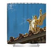 Paris Opera House V   Exterior Facade Shower Curtain