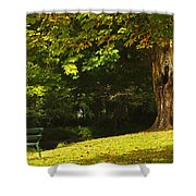 Park Bench Beside The Owenriff River In Shower Curtain