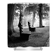 Park Bench In Black And White Shower Curtain