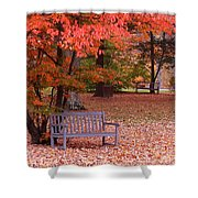 Park Bench In Fall Shower Curtain