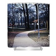 Park Path At Dusk Shower Curtain
