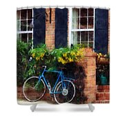 Parked Bicycle Shower Curtain