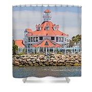 Parker's Lighthouse Shoreline Village Shower Curtain