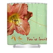 Party Invitation - Orange Day Lily Shower Curtain
