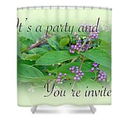 Party Invitation - General - American Beautyberry Shrub Shower Curtain by Mother Nature