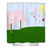 Party Over The Hill Shower Curtain