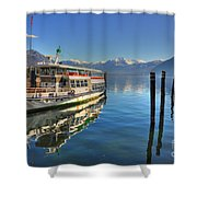 Passenger Ship Reflected On The Water Shower Curtain
