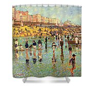 Passing Time On Brighton Beach Shower Curtain