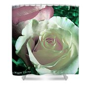 Pastel Pink And White Rose Shower Curtain