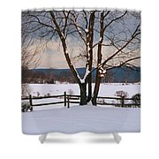 Pastoral View Of A Farm Covered In Snow Shower Curtain