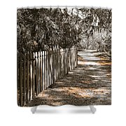 Path Along The Fence Shower Curtain