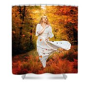 Path Of Fall Shower Curtain by Karen Koski