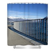 Path On An Alpine Lakefront Shower Curtain