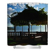 Patio In Backlight Shower Curtain