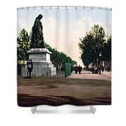 Paul Riquet Statue And The Allees In Beziers - France Shower Curtain