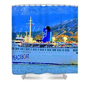 Peace Boat Along South America Coastline Shower Curtain