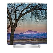 Peaceful Early Morning Sunrise Longs Peak View Shower Curtain