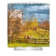 Peaceful Farm In Autumn Shower Curtain