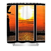 Peaceful Sunset Triptych Series Shower Curtain