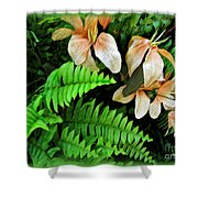 Peach Floral Shower Curtain