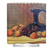 Peaches And Blue Pitcher Shower Curtain