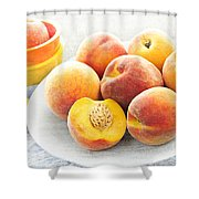 Peaches On Plate Shower Curtain