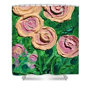 Peachy Roses Taking Form Shower Curtain by Ruth Collis