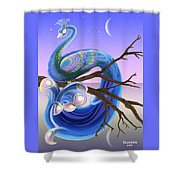 Peacock Moon Shower Curtain