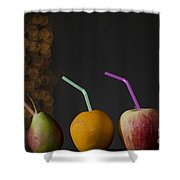 Pear And Apple And Orange Shower Curtain