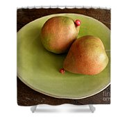 Pears On Heart Plate Shower Curtain