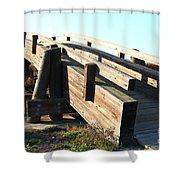 Pedestrian Bridge At Martinez Regional Shoreline Park In Martinez California . 7d10513 Shower Curtain