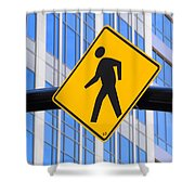 Pedestrian Crosswalk Sign In Business District Shower Curtain by Gary Whitton
