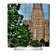 Pedestrian View Of City Hall Vert Shower Curtain