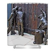 Peeking At Baseball Game Sculpture Shower Curtain