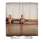 Pelham Bridge In Sepia Shower Curtain
