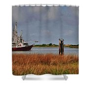 Pelican And The Red Shrimpboat Shower Curtain