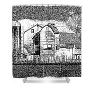 Pencil Sketch Barn Shower Curtain