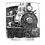 Pencil Sketch Locomotive Shower Curtain