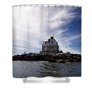 Penfield Reef Lighthouse Shower Curtain